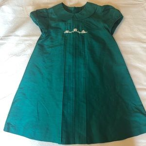 LULI & ME GREEN SILK DRESS